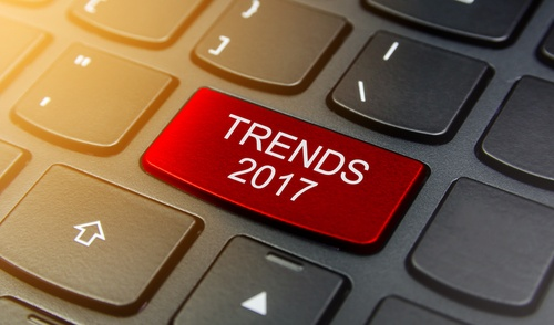 "Keyboard with a key that says ""Trends 2017""."