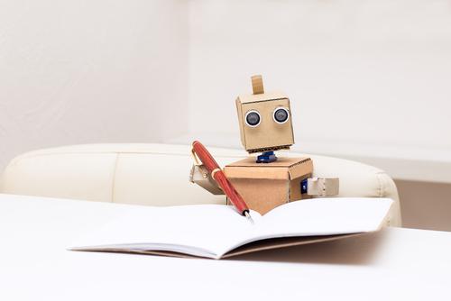 Robot reading a book