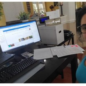 Michelle Robles-Colon working from home.